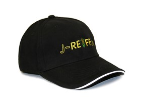 Peaked cap with logo in black