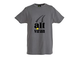 "T-Shirt ""alt viran"" in grau S"